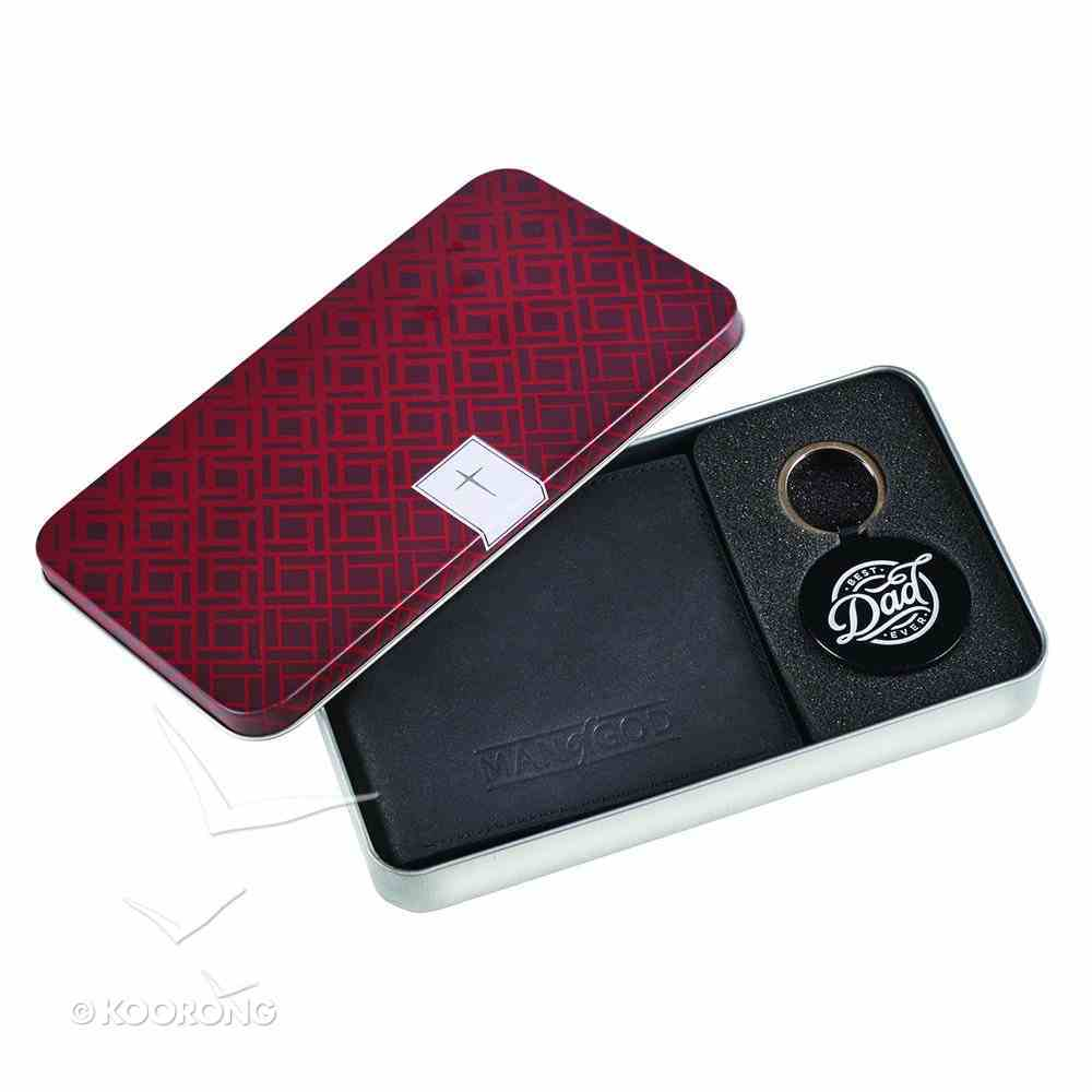 Mens Genuine Leather Wallet & Keyring Set in Tin: Man of God/Best Dad Ever Pack
