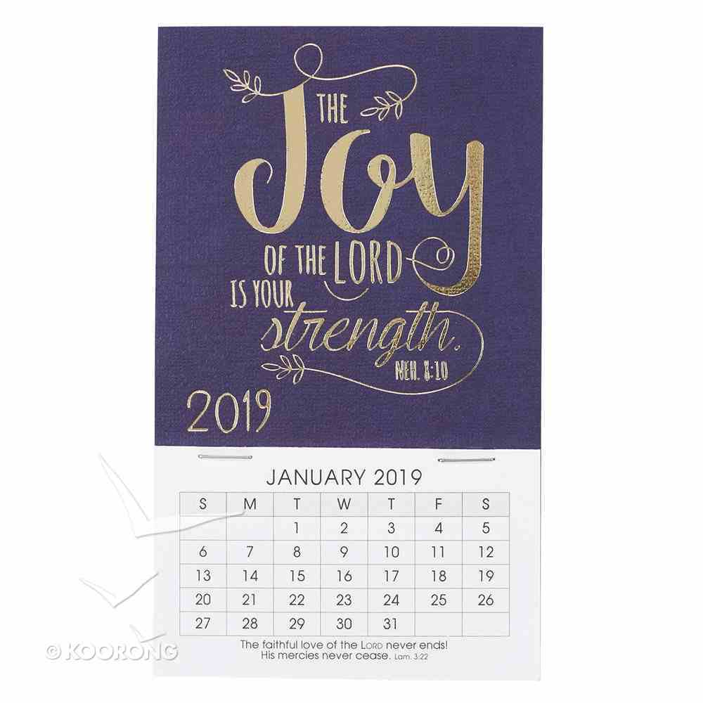 2019 Mini Magnetic Calendar: The Joy of the Lord is Your Strength, Navy/Gold Calendar
