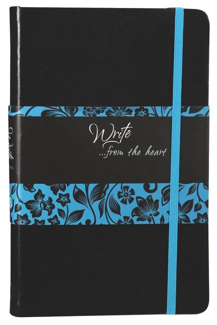 Product: Write Journal: From The Heart, Blue/black Flowers (Onyx) Image