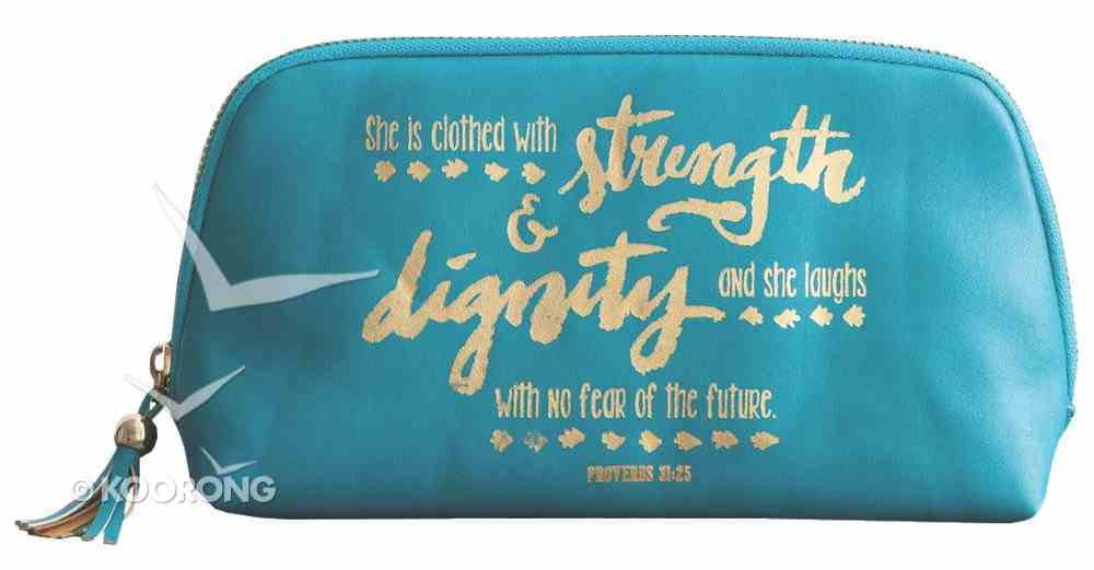 Cosmetic Bag: Strength & Dignity, Blue/Gold Writing (Proverbs 31:25) ((In)courage Gift Product Series) Soft Goods