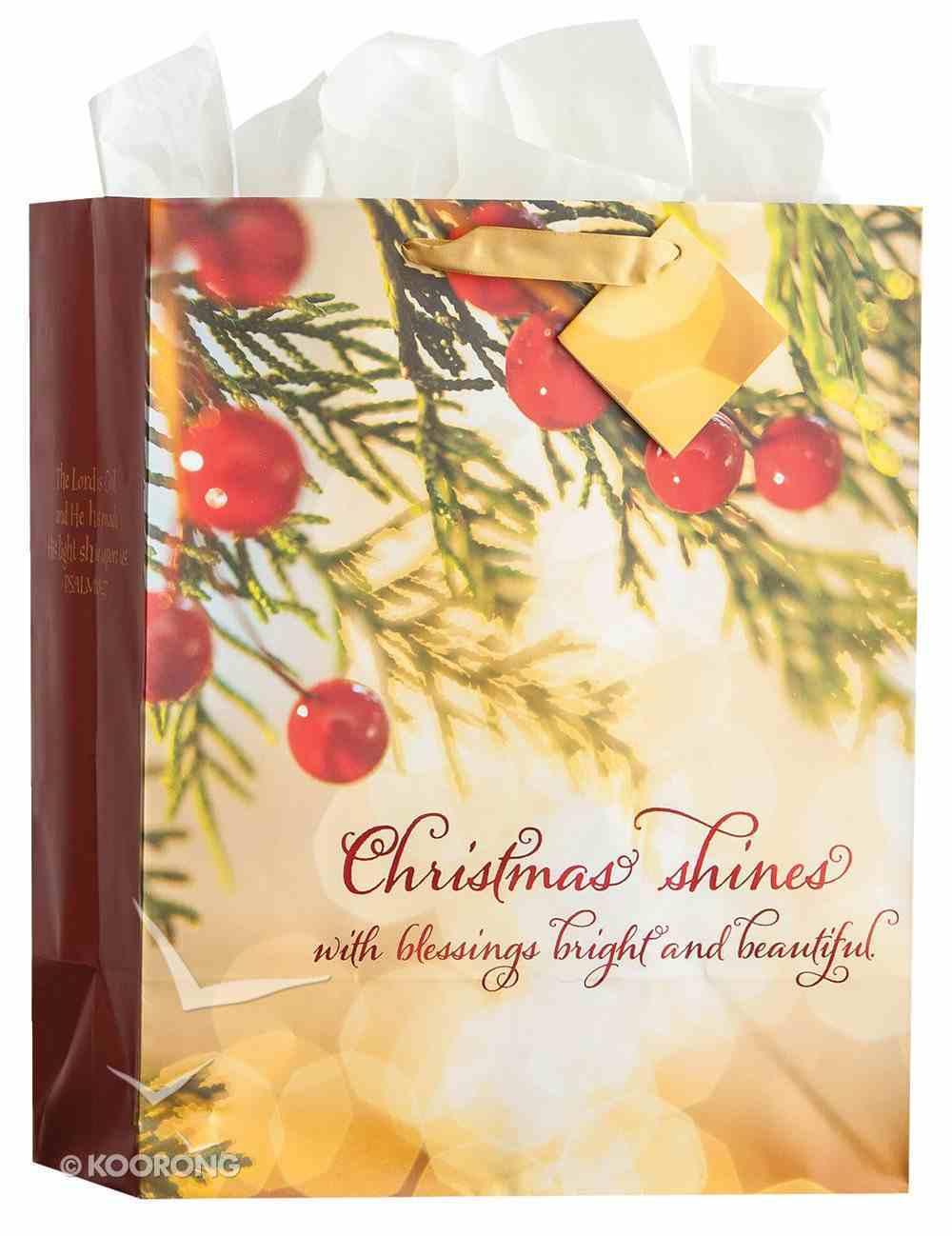 Christmas Gift Bag Large: Christmas Shines (Incl Tissue Paper & Gift Bag) (Psalm 118:27) (Bokeh) Stationery