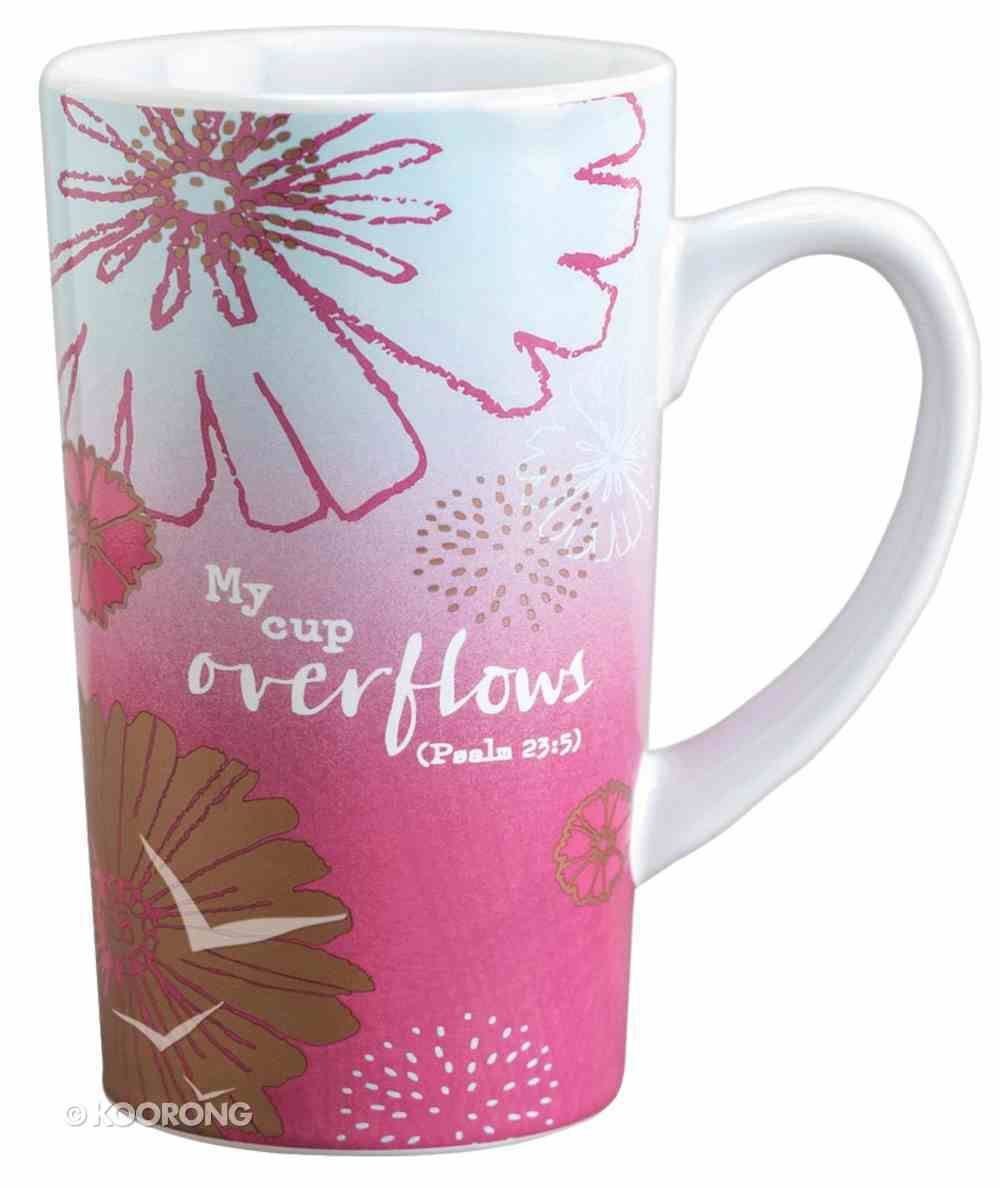 Latte Ceramic Mug: My Cup Overflows Pink/White (Psalm 23:5) Homeware