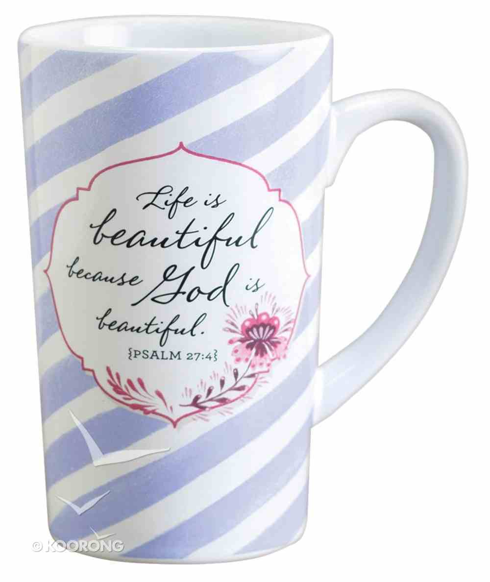 Latte Ceramic Mug: Life is Beautiful, Lavender/White Stripes (Psalm 27:4) Homeware