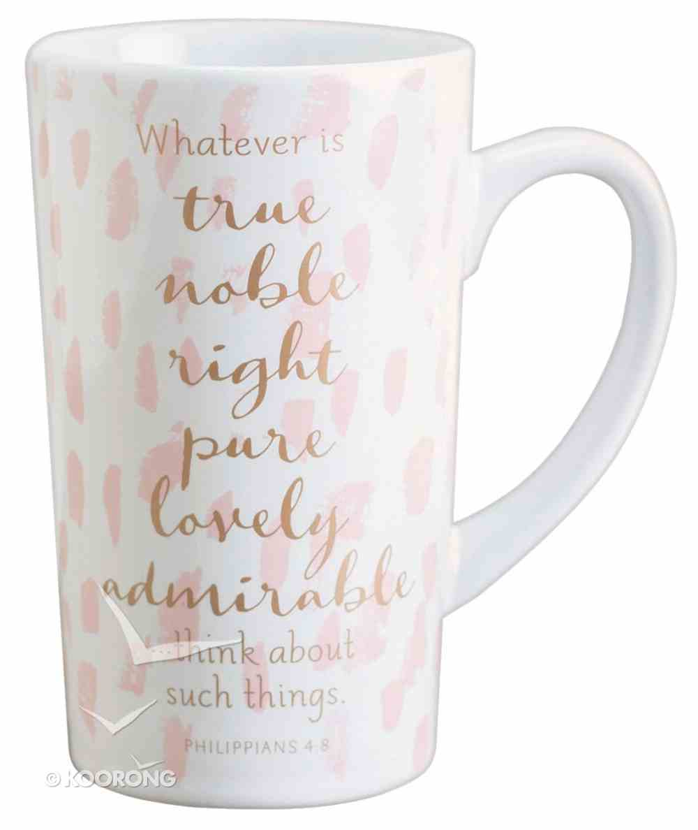 Latte Ceramic Mug: Whatever is True, Real Gold Accents (Phil 4:8) Homeware