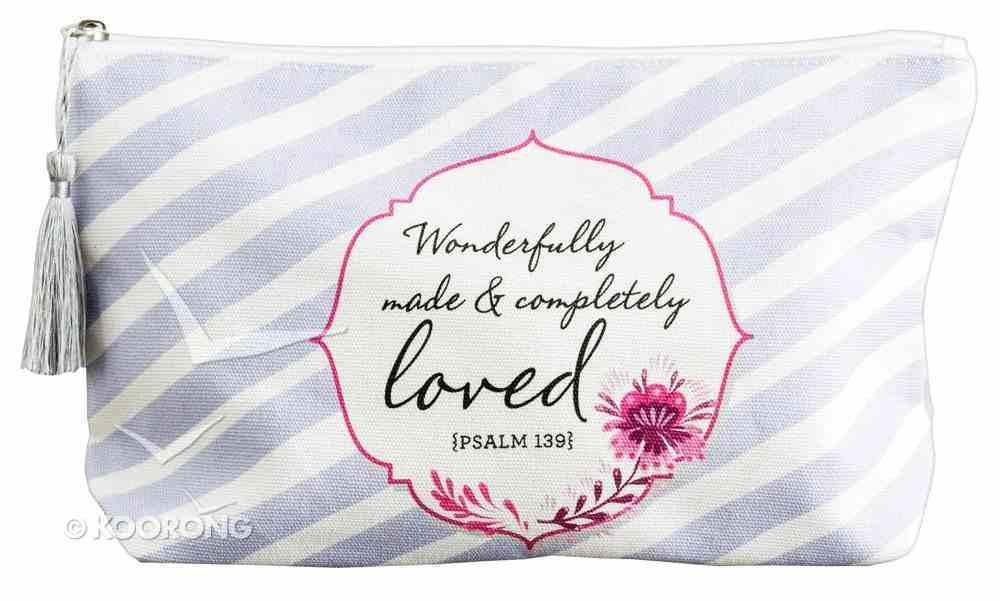 Travel Bag: Wonderfully Made & Completely Loved, Lavender Stripes/Pink Flower (Psalm 139) Soft Goods
