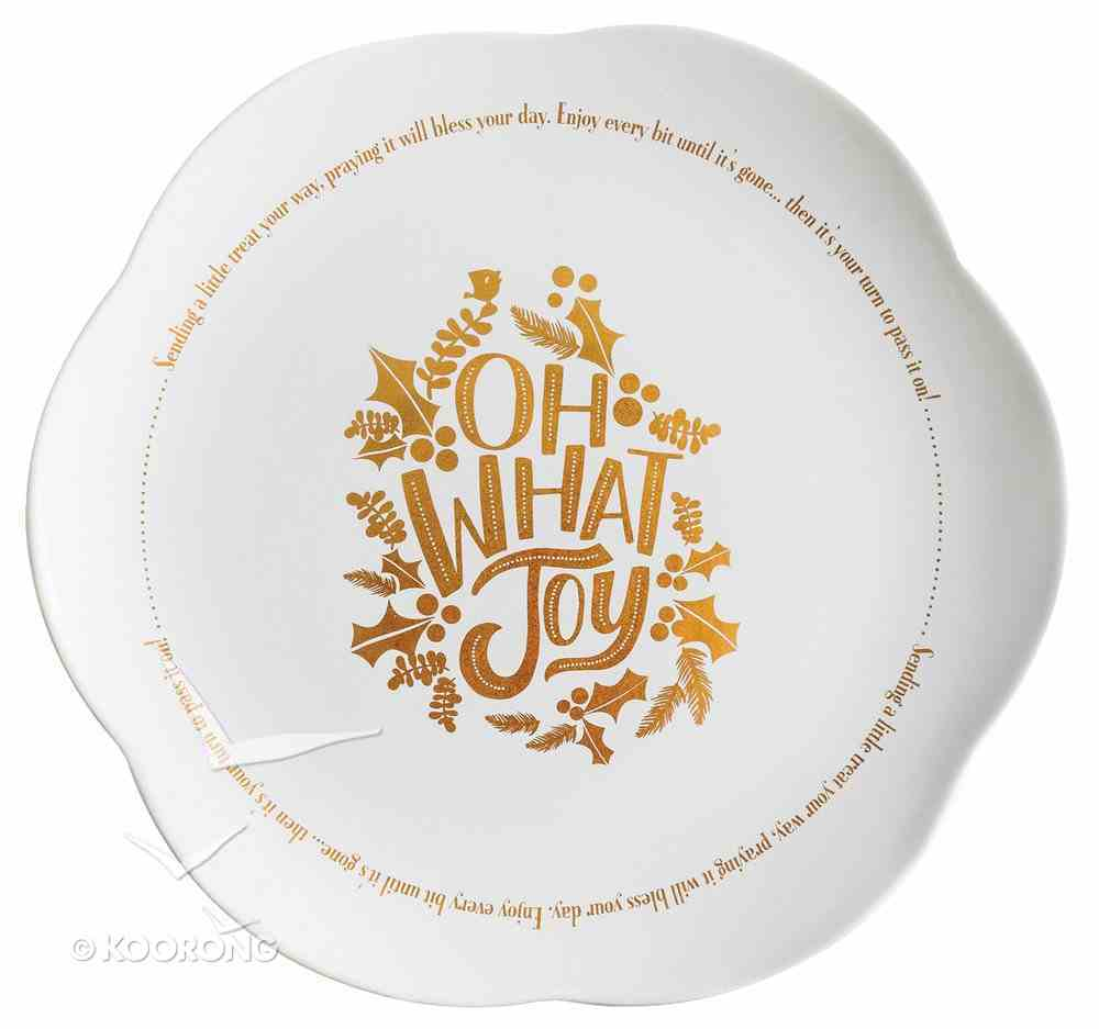 Christmas Ceramic Giving Plate: Oh What Joy! Gold Foil Lettering and Design Homeware