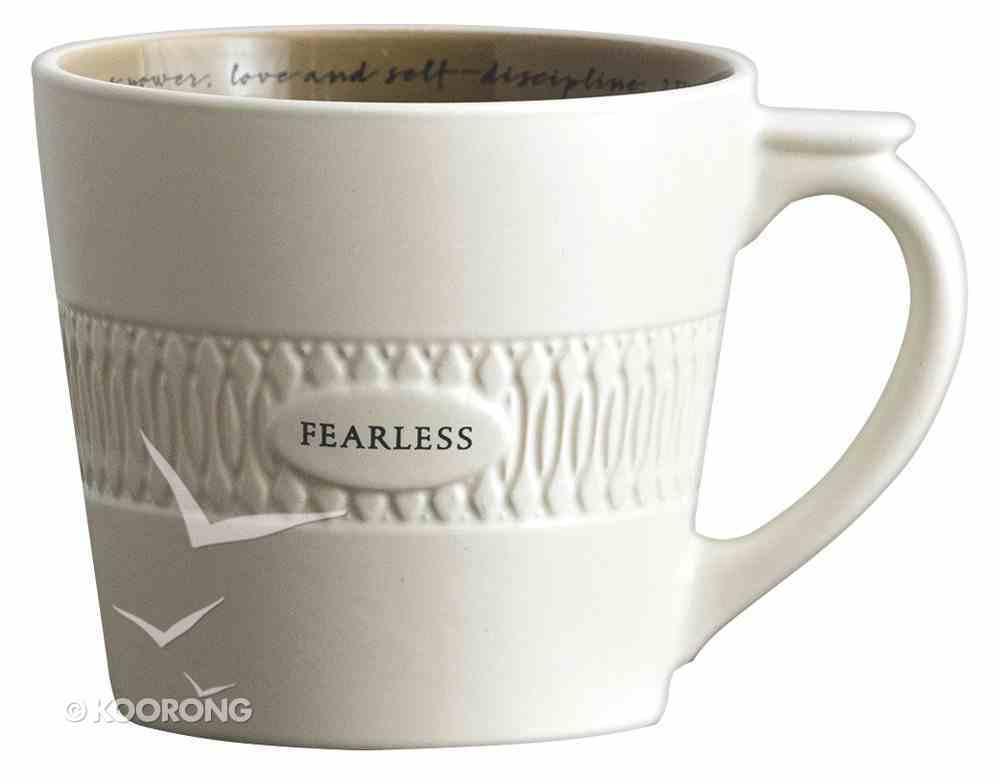 Ceramic Textured Mug: Fearless, Cream/Nutmeg (2 Timothy 1:7) Homeware