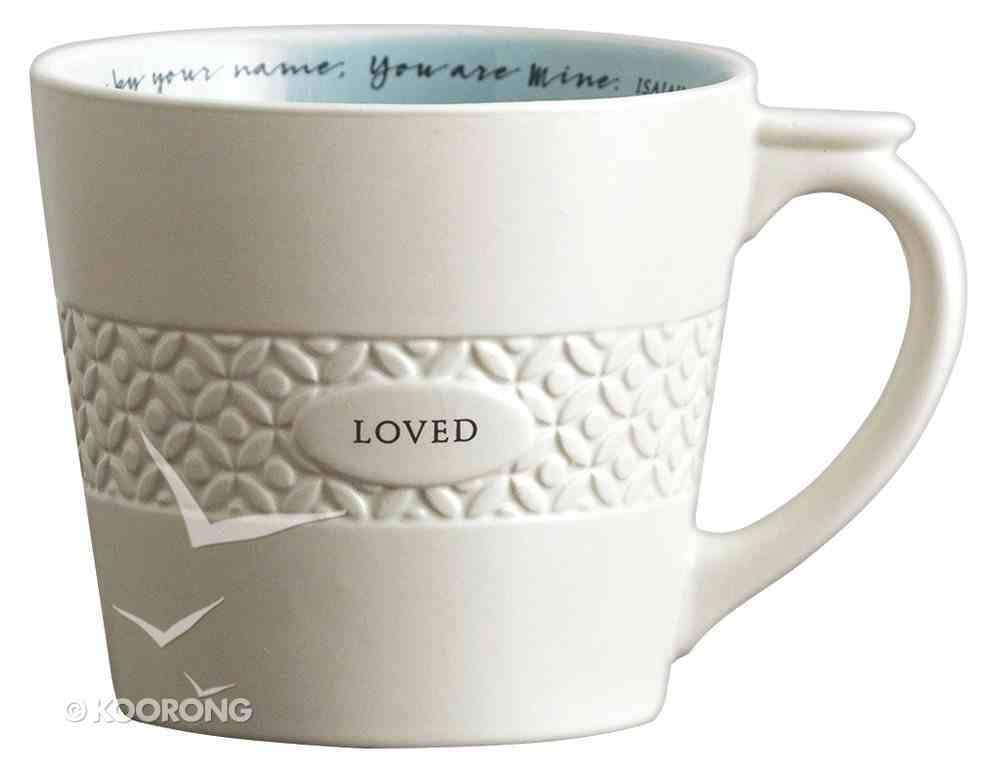 Ceramic Textured Mug: Loved, Cream/Light Blue (Isaiah 43:1) Homeware