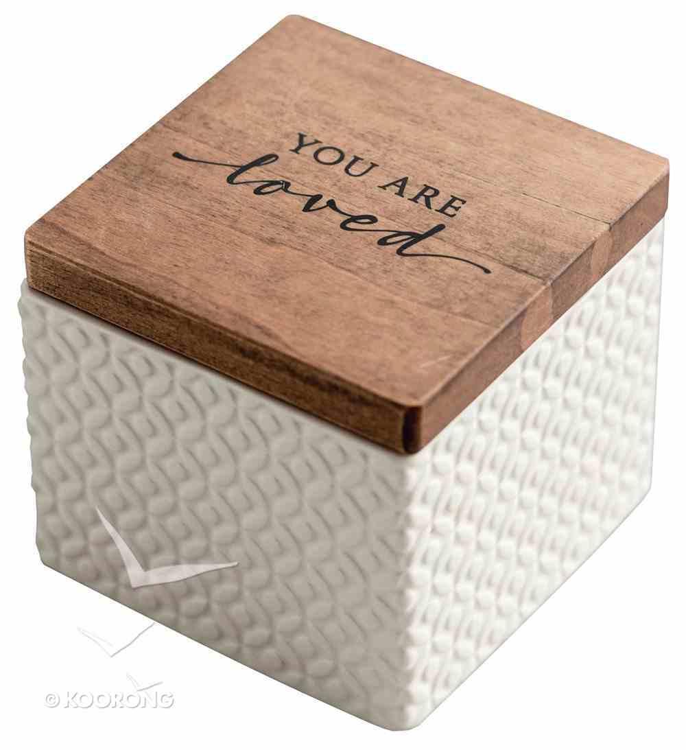 Textured Keepsake Box: You Are Loved, Cream Outside/Light Blue Inside Homeware