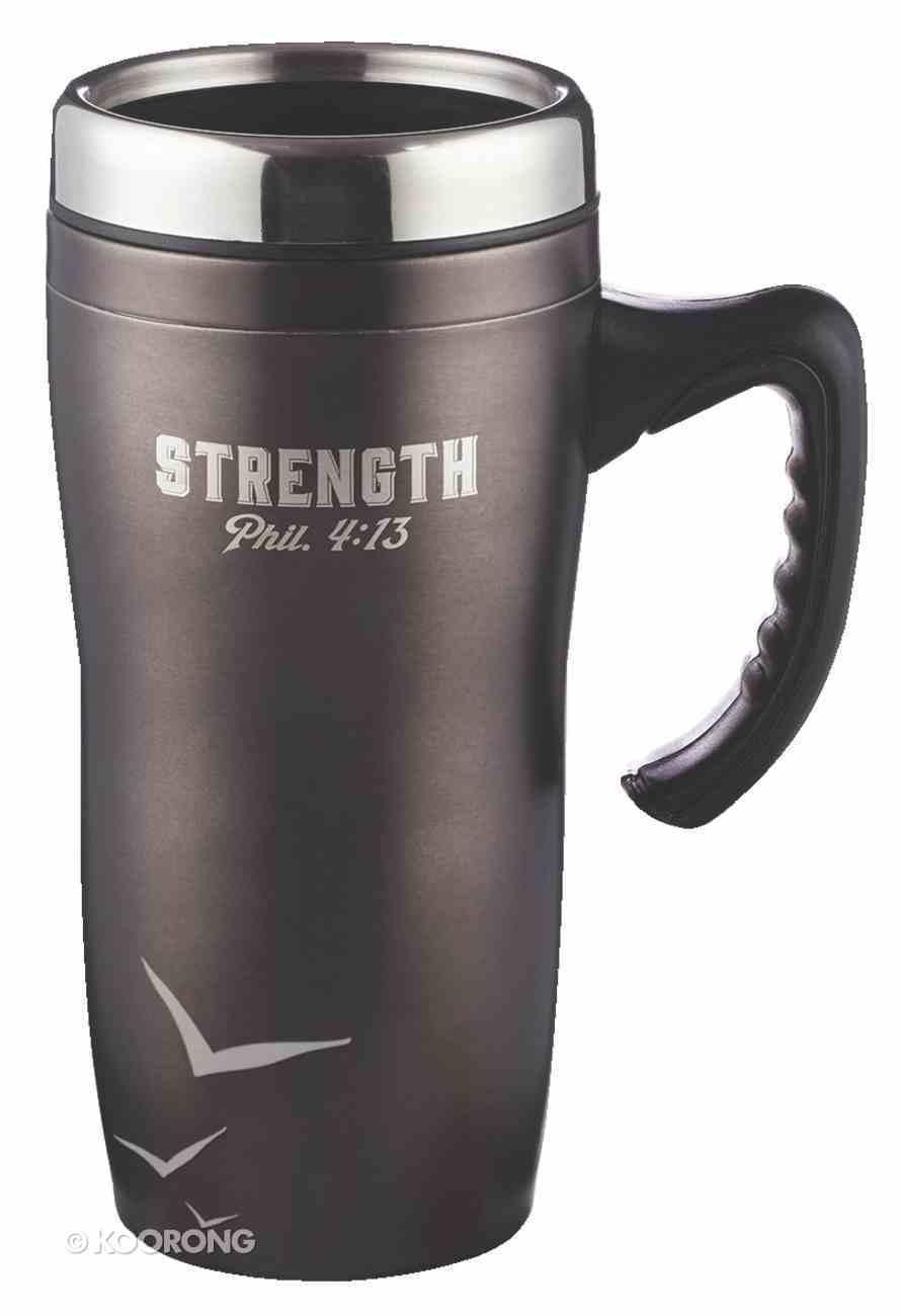 Stainless Steel Travel Mug: Strength, Black (Phil 4:13) Homeware
