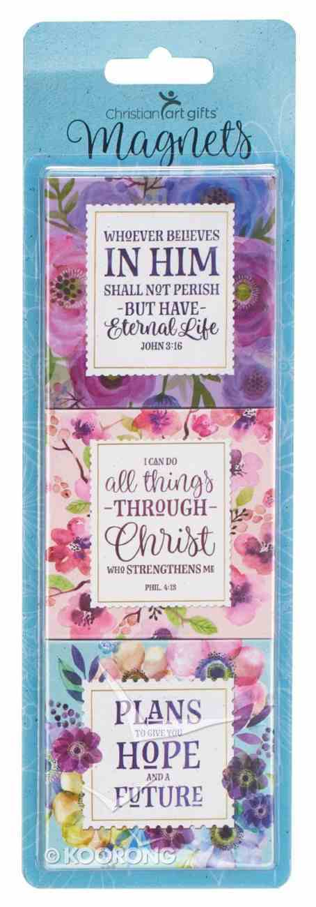 Magnet Set of 3: Plans For a Hope and Future, Floral (Various Scripture Verses) Novelty