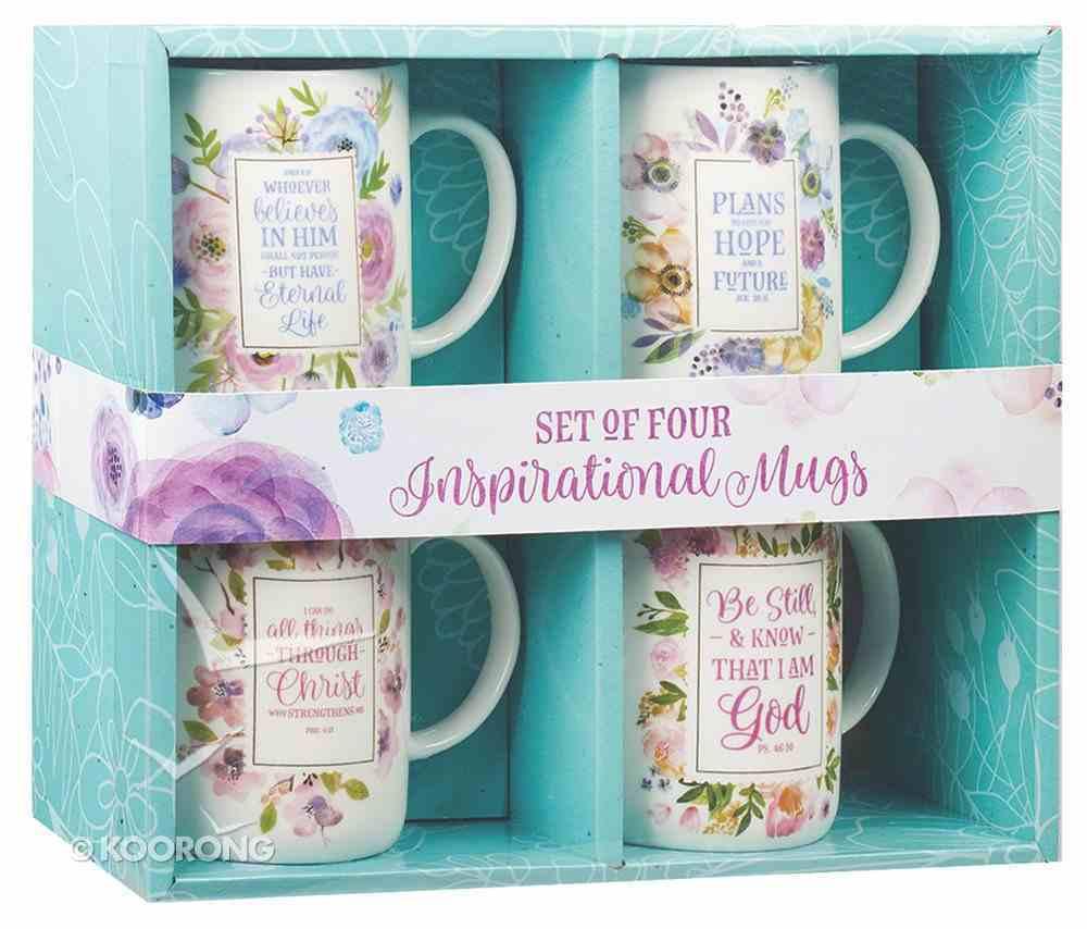 Ceramic Mug: Inspirational Mugs, Floral (Various Scripture Verses) (Set Of 4) Homeware