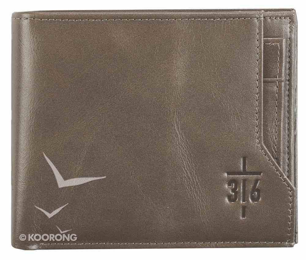 Men's Genuine Leather Wallet: John 3:16 Cross, Brown Soft Goods