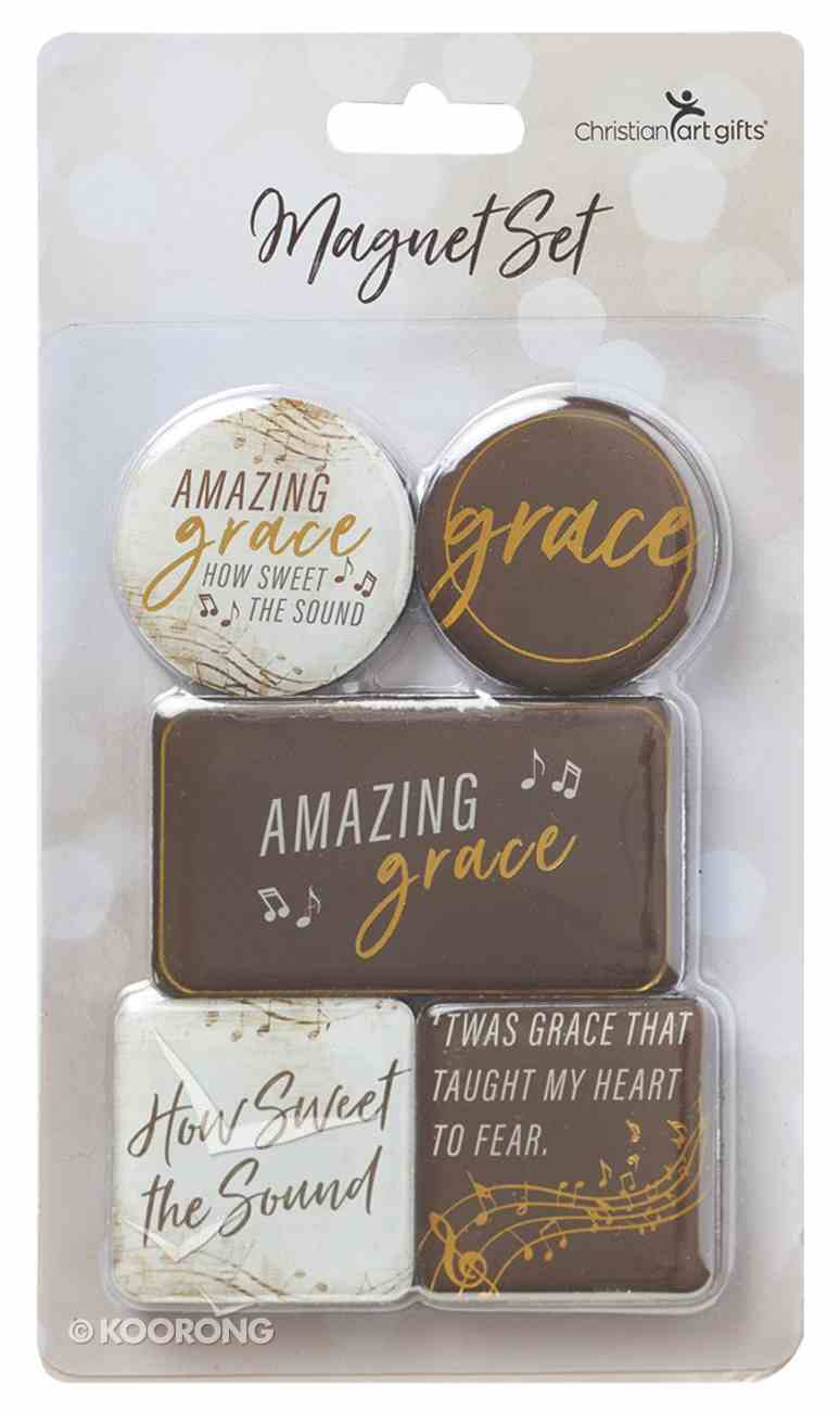 Magnetic Set of 5 Magnets: Amazing Grace, Brown/Cream Novelty