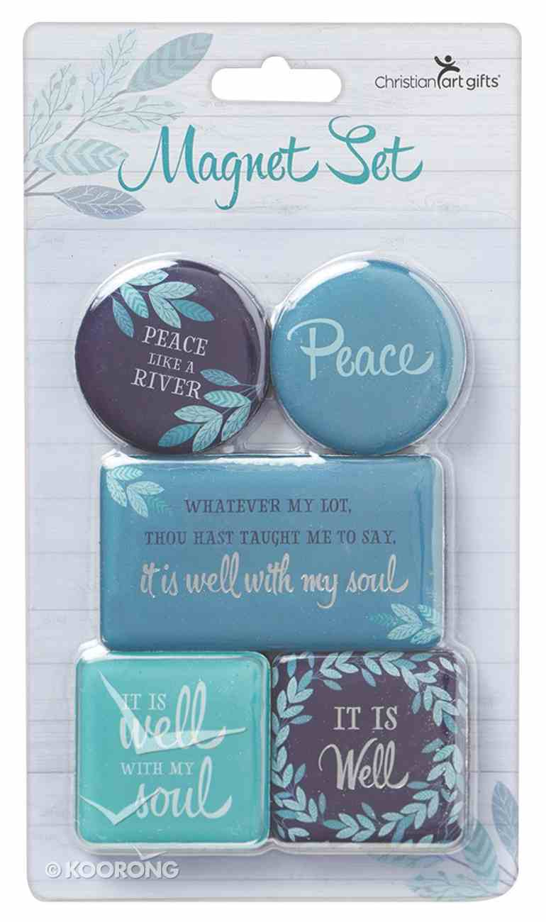 Magnetic Set of 5 Magnets: Peace Like a River, Blue/Turquoise Novelty