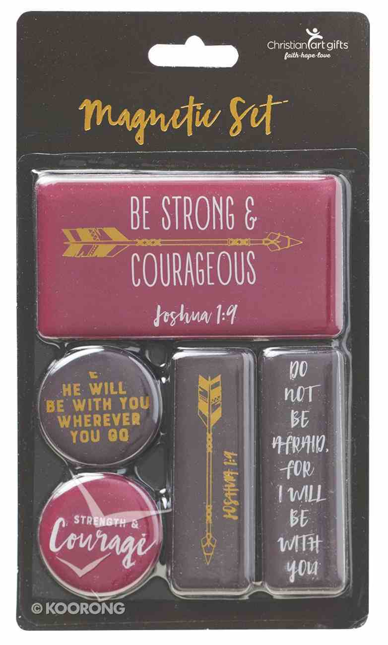 Magnetic Set of 5 Magnets: Be Strong & Courageous, Burgundy/Black/Gold Novelty
