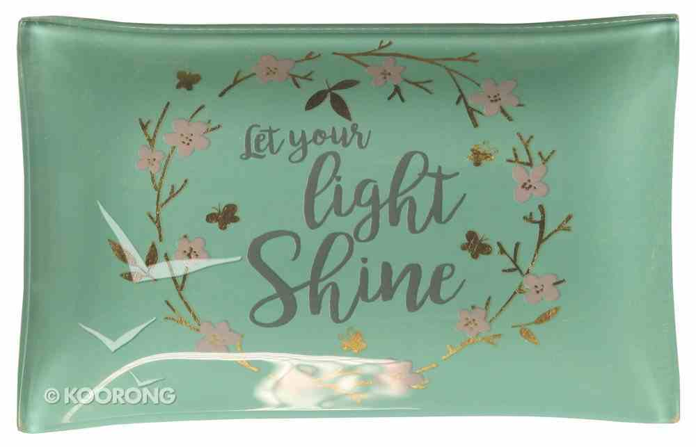 Small Glass Trinket Tray: Let Your Light Shine...Light Blue/Floral Wreath (Sparkle Range) Homeware