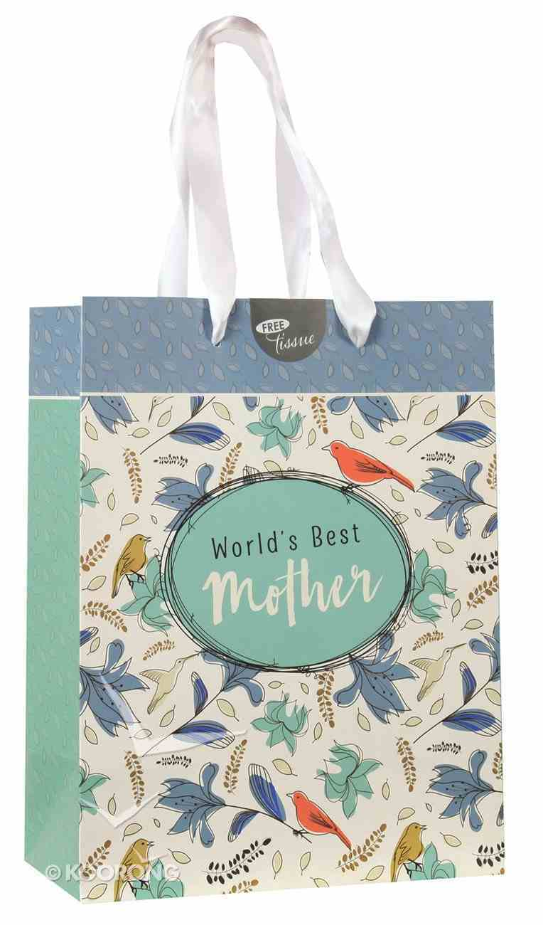 Gift Bag Medium: World's Best Mother (Turquoise/white/floral) Stationery