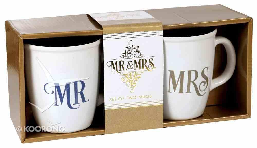 Ceramic Mugs Set of 2: Mr & Mrs White With Blue & Gold Homeware