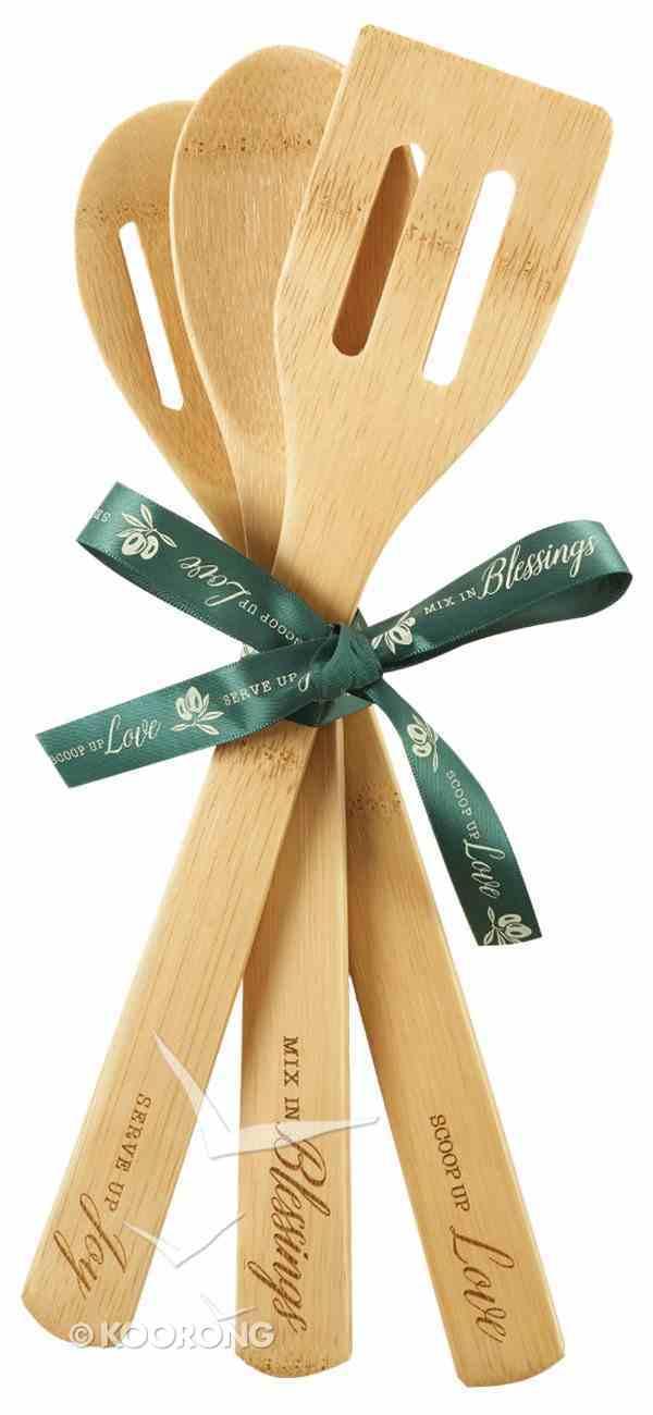 Bamboo Spoon Set of 3: Love, Blessings, Joy Homeware