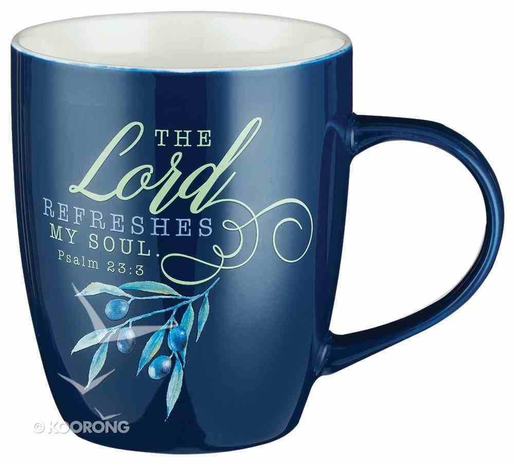 Ceramic Mug: The Lord Refreshes the Soul (Psalm 23:3) Navy Olive Branch (384ml) Homeware