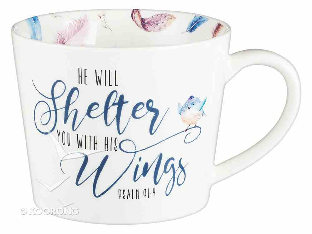 Ceramic Mug: He Will Shelter You, Coloured Feathers/White (384ml) Homeware