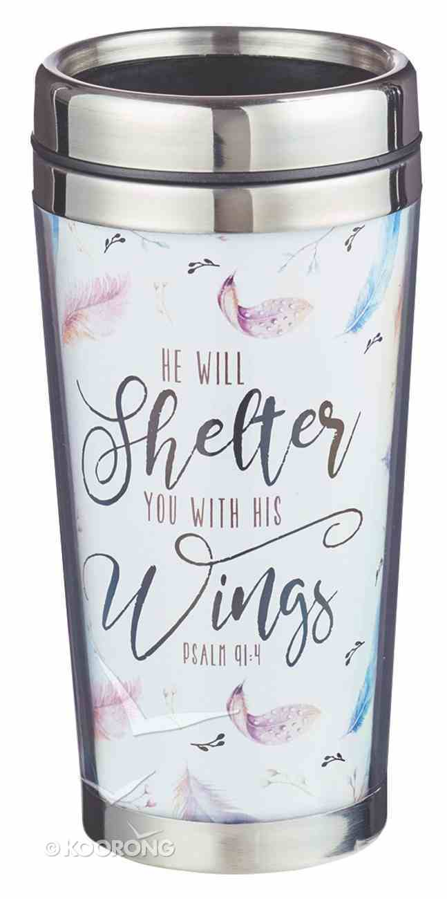 Polymer Tumbler W/Design Insert: He Will Shelter You With His Wings, Psalm 91:4 Homeware