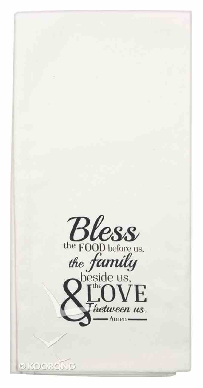 Tea Towel: Bless the Food Before Us....., White/Black Homeware