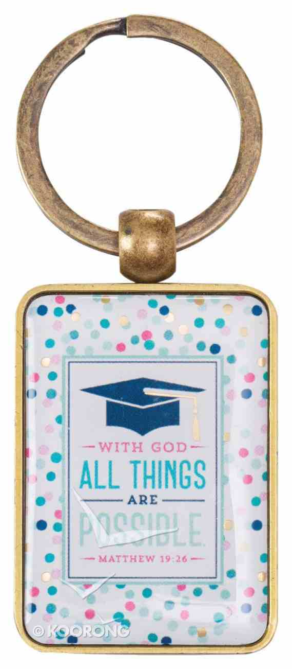 Metal Keyring in Tin: Graduation 2018, Colored Dots Novelty