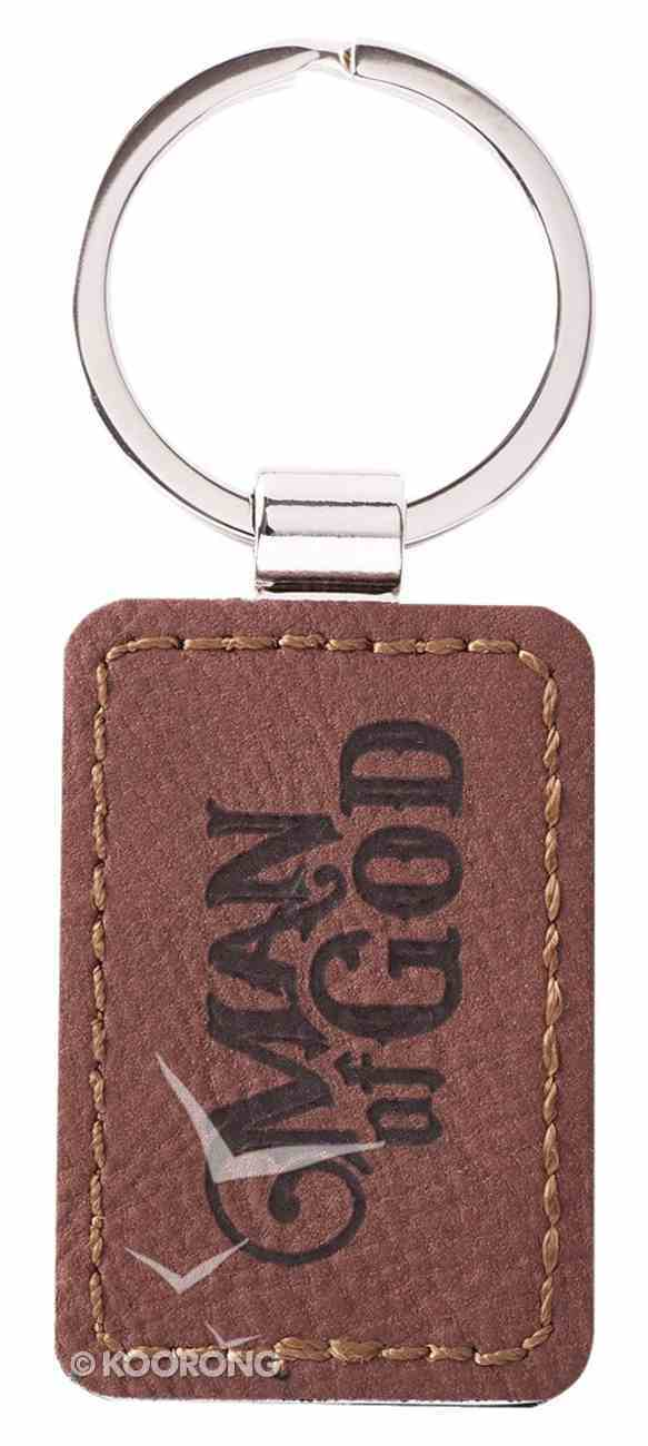 Keyring in Tin: Man of God, Faux Leather, Wood Grain Design Novelty