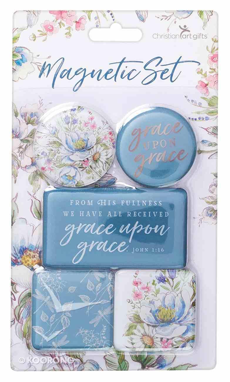 Magnetic Set of 5 Magnets: Grace Upon Grace, Blue/Floral Novelty