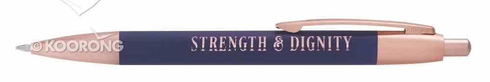 Ballpoint Pen: Strength & Dignity, Navy Blue/Rose Gold Etching Stationery