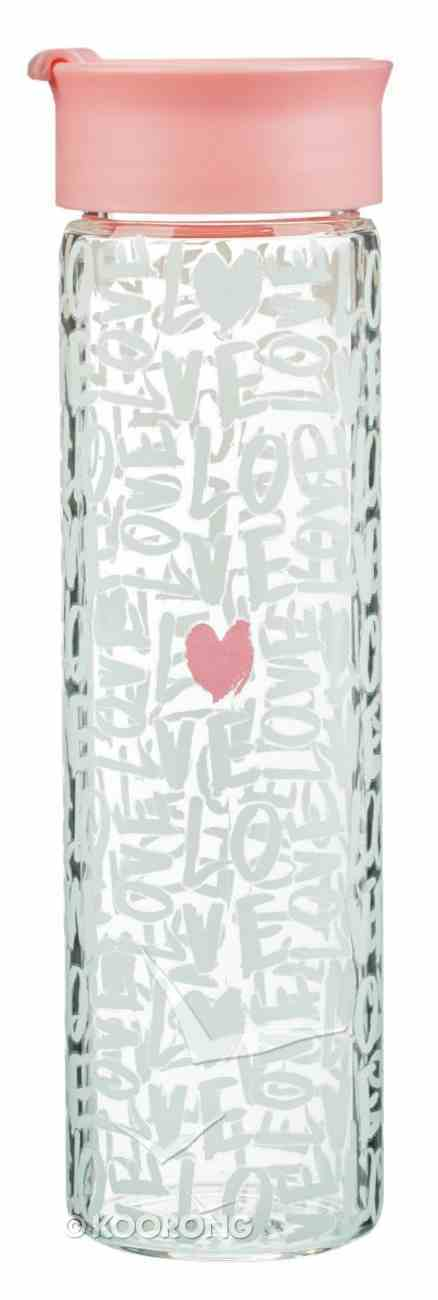 Water Bottle Clear Glass: Love....Pink Lid Homeware