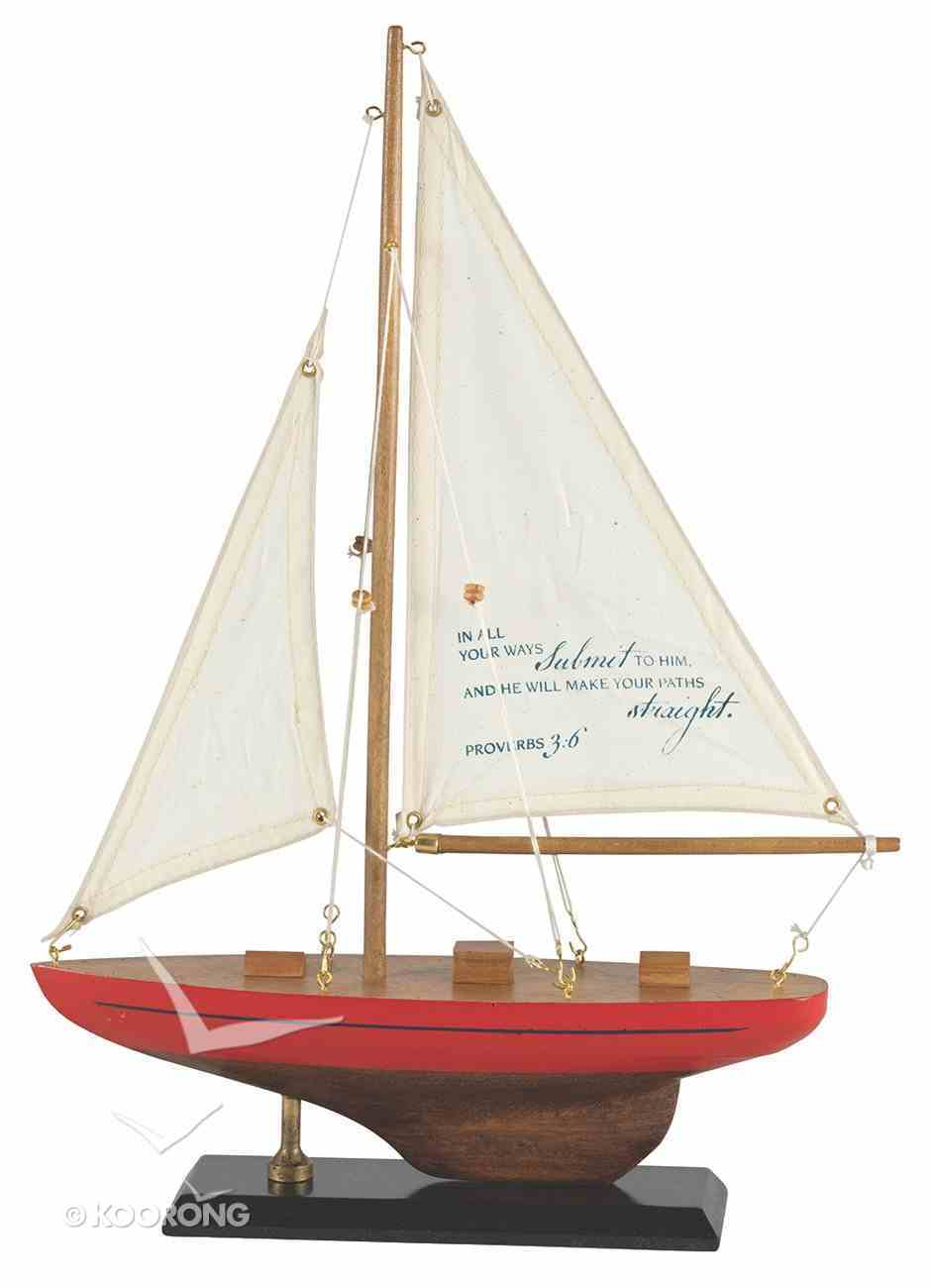Sailboat Wood/Fabric: In All Your Ways Proverbs 3:6 (Red & Blue Stripe) Homeware