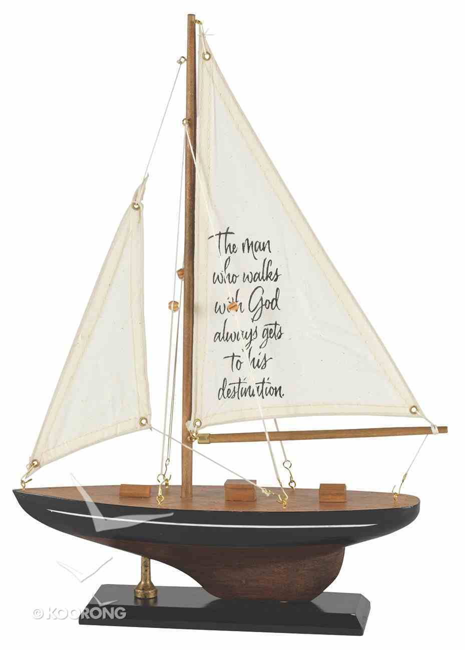 Sailboat Wood/Fabric: The Man Who Walks With God (Black & White Stripe) Homeware