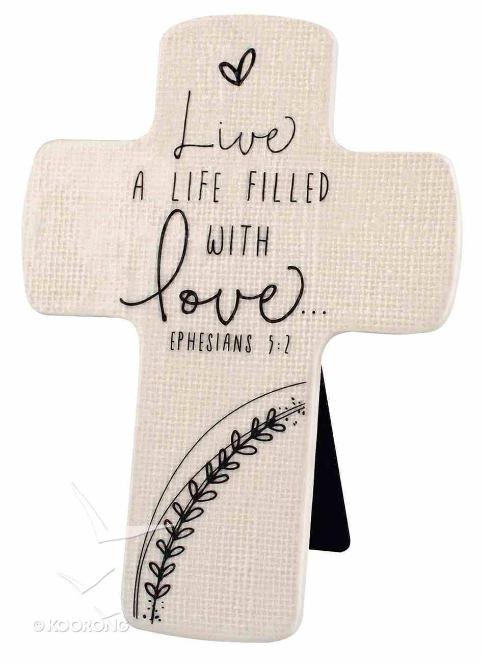 Cross Ceramic Hand Drawn Doodles: Love (Ephesians 5:2) Plaque