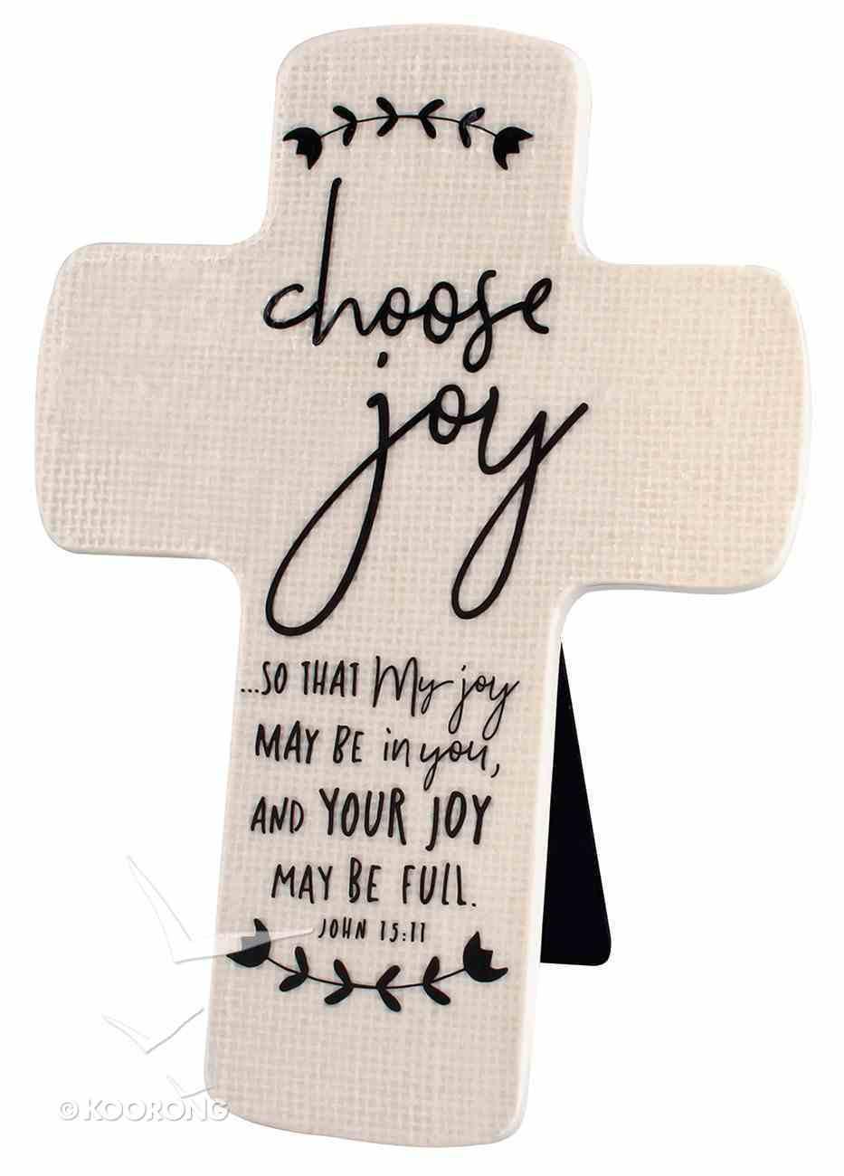 Cross Ceramic Hand Drawn Doodles: Choose Joy (John 15:11) Plaque
