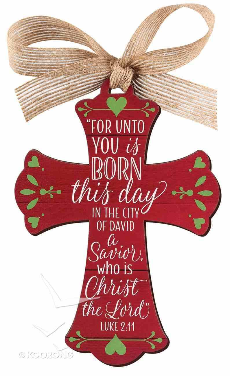 Christmas Mdf Red Barnwood Ornament: Cross (Luke 2:11) Homeware