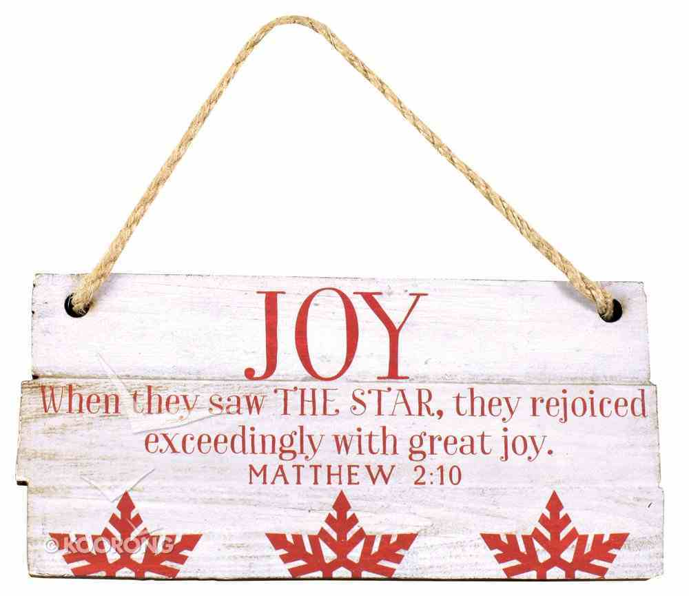 Christmas Rustic Country Ornament: Joy Red and White (Matthew 2:10) Homeware