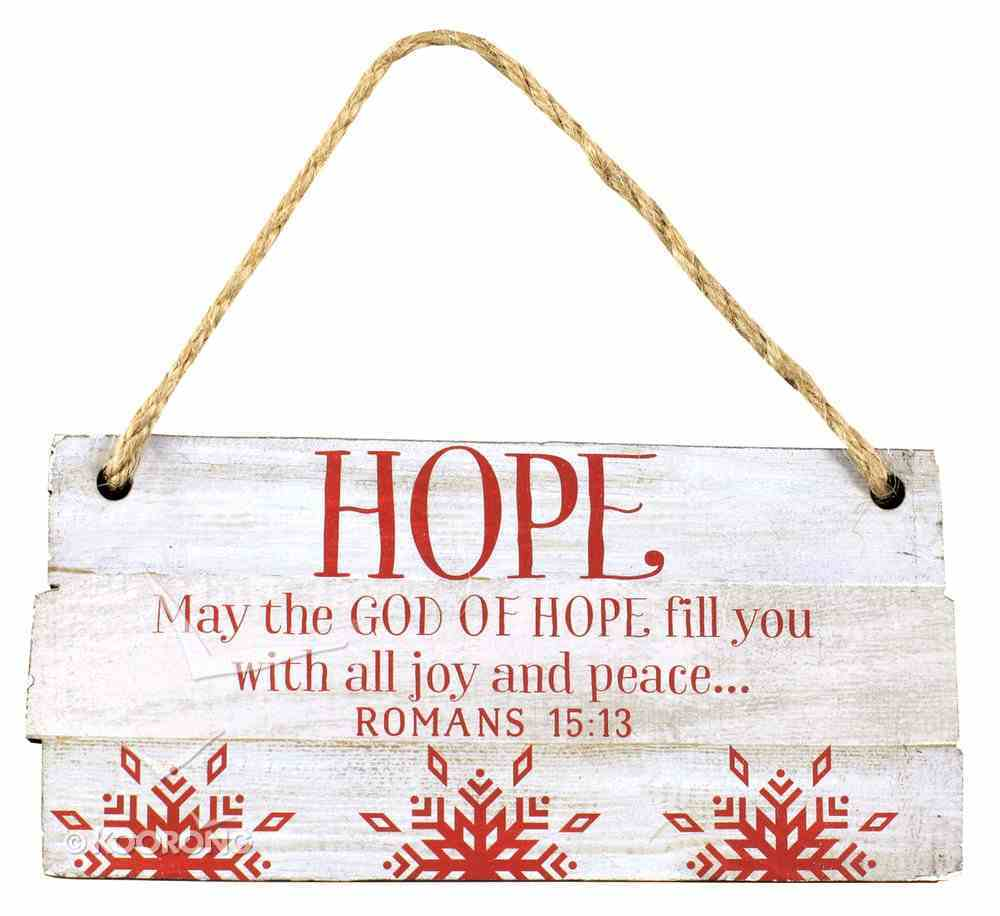 Christmas Rustic Country Ornament: Hope Red and White (Romans 15:13) Homeware