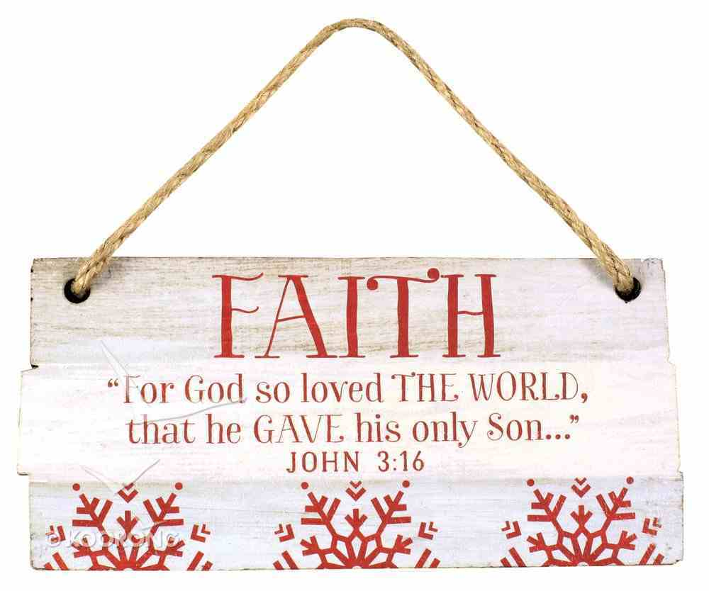 Christmas Rustic Country Ornament: Faith Red and White (John 3:16) Homeware