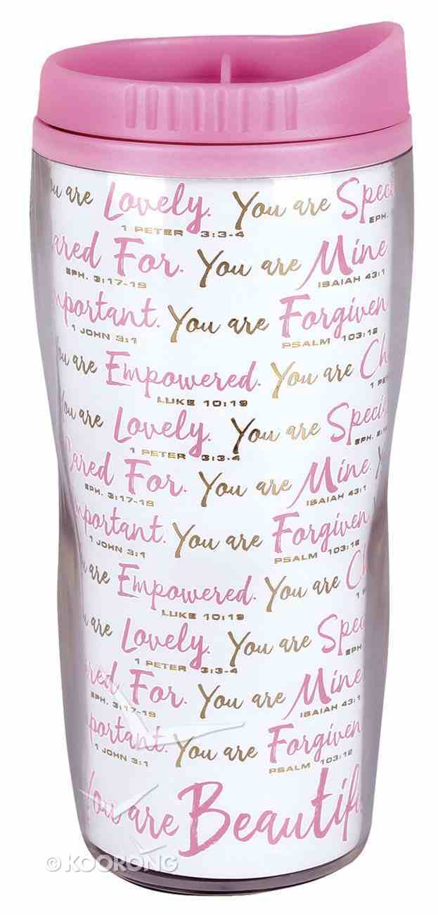 Acrylic Wavy Tumbler Mug: You Are Beautiful, White/Pink (Various Scriptures) Homeware