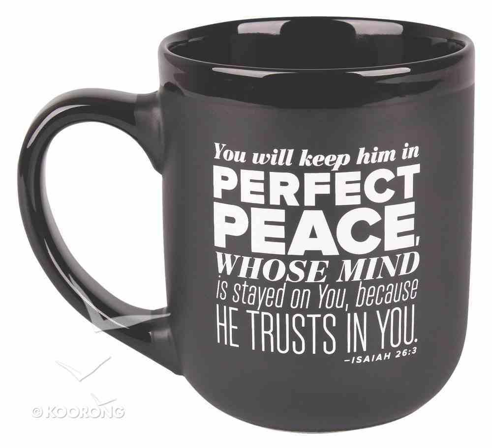 Ceramic Mug: Peace, Encourage Men Black/White (Isaiah 26:3) Homeware