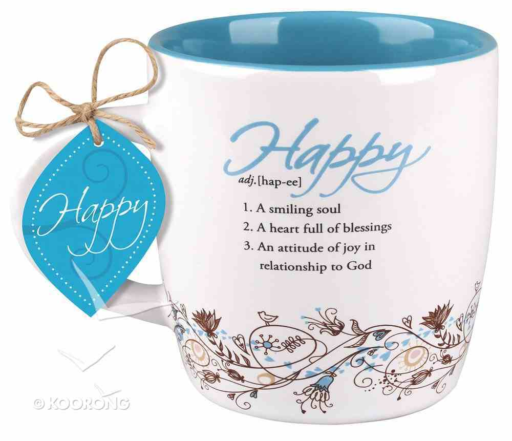 Ceramic Mug Creative Definition: Happy, Bright Blue/White (Psalm 68:3) Homeware