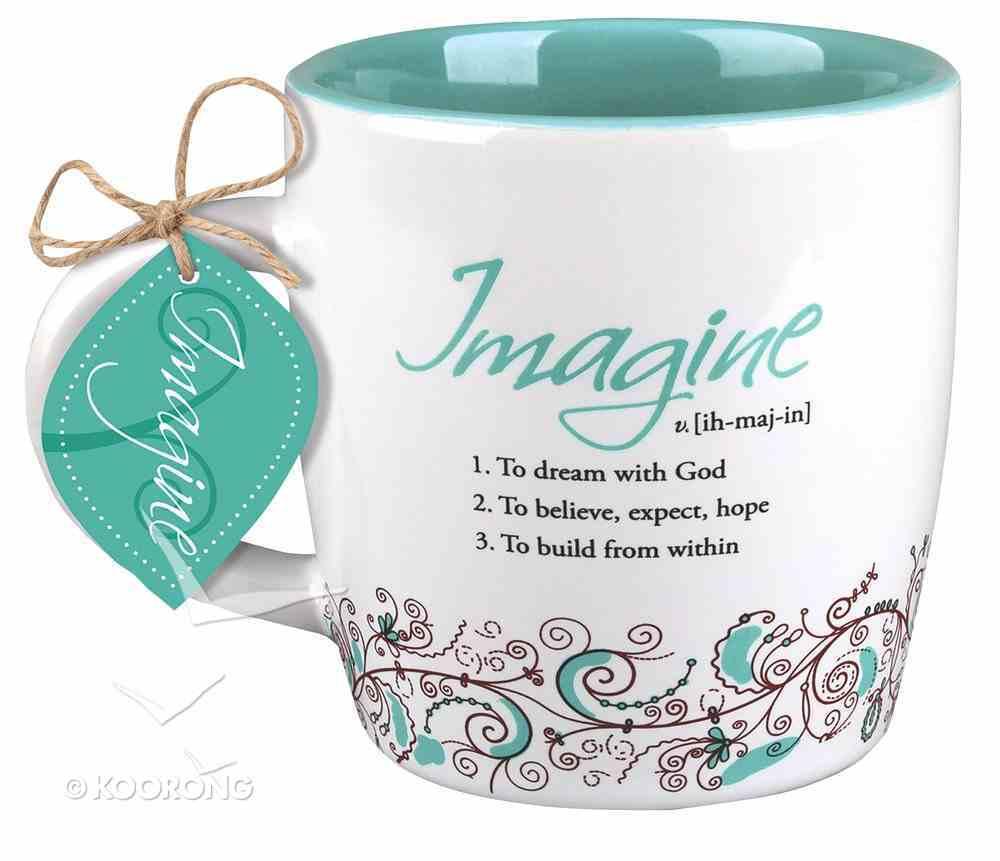 Ceramic Mug Creative Definition: Imagine, Turquoise/White (Ephesians 3:20) Homeware