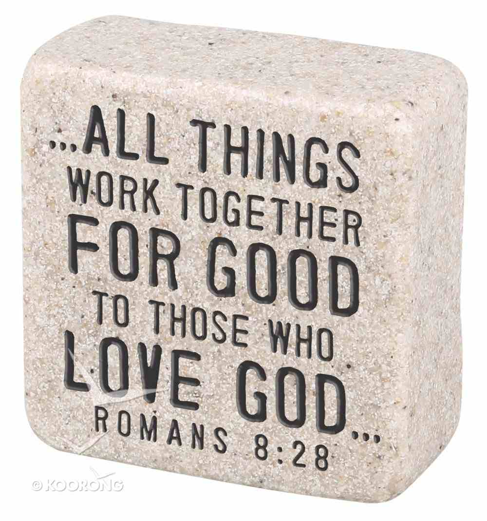 Cast Stone Plaque: Believe Scripture Stone, Cream (Romans 8:28) Plaque