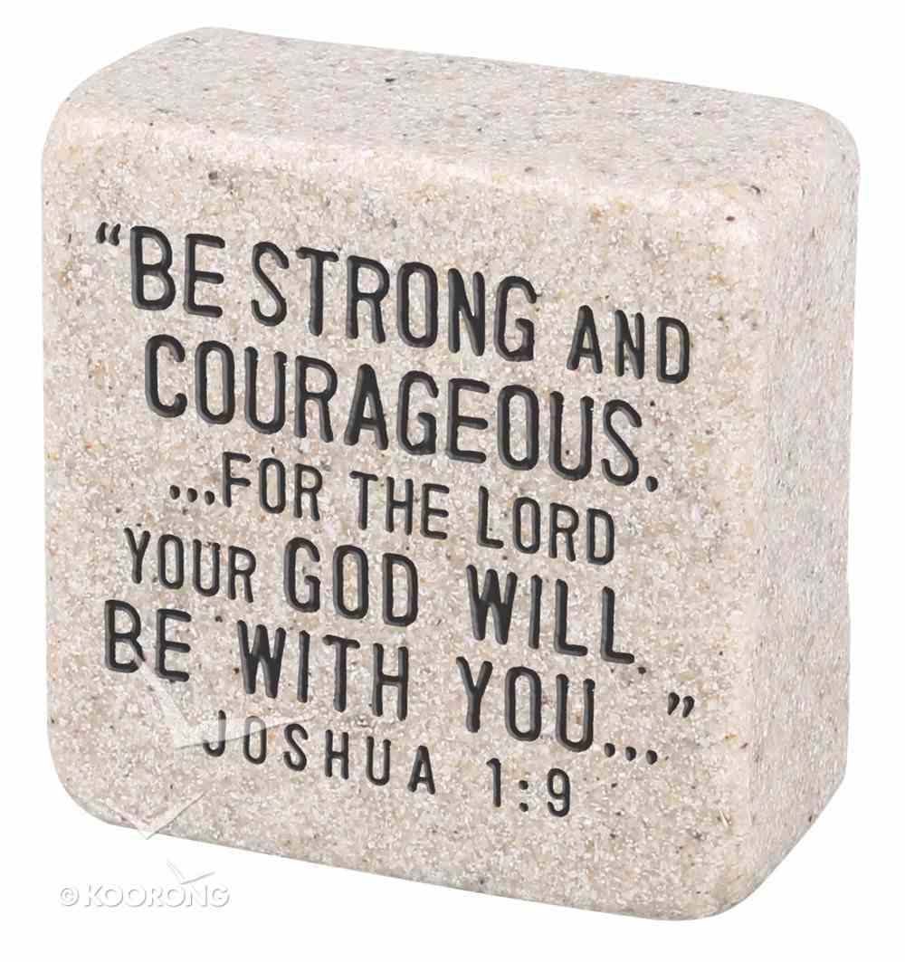 Cast Stone Plaque: Strength Scripture Stone, Cream (Joshua 1:9) Plaque