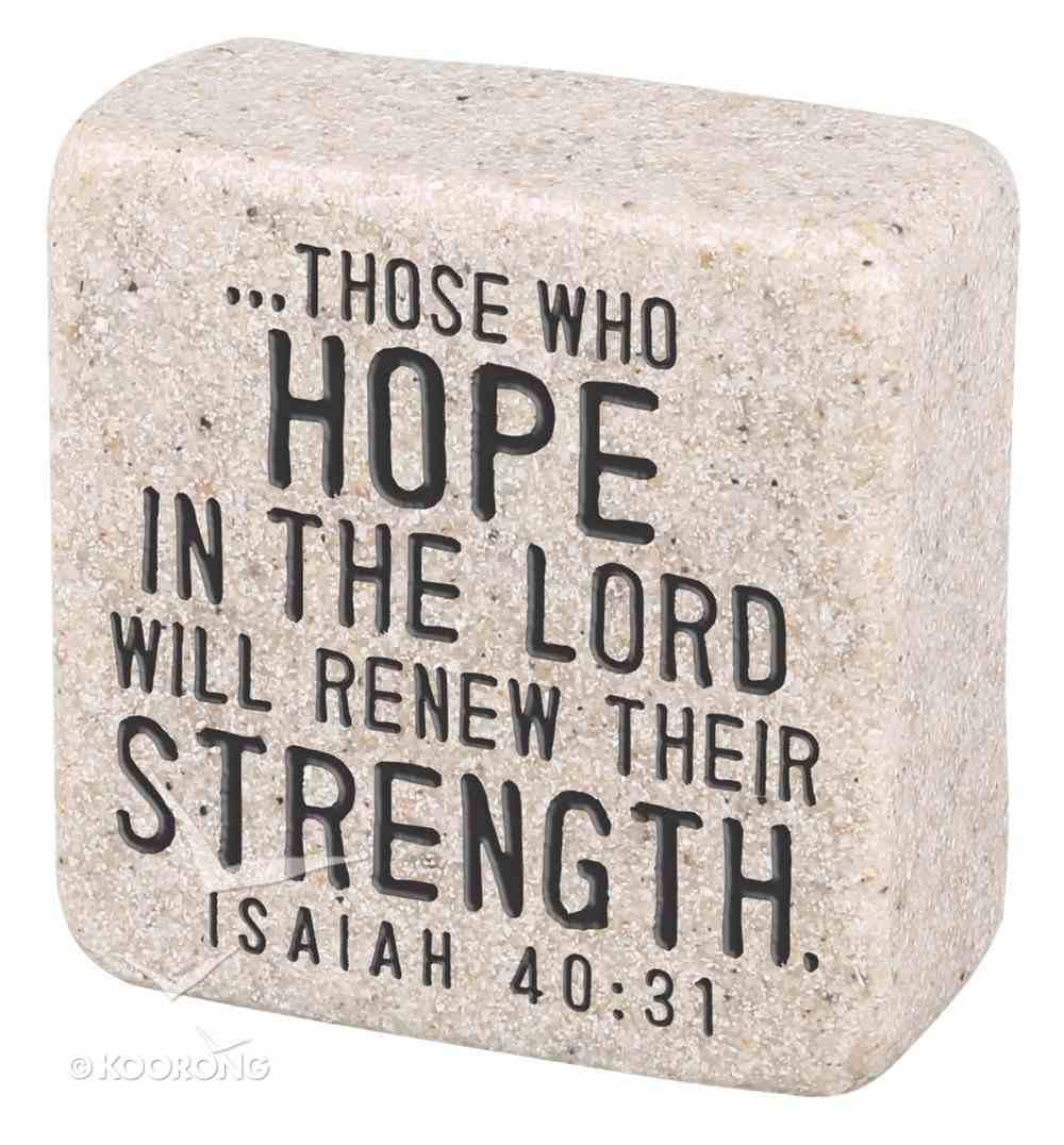 Cast Stone Plaque: Hope Scripture Stone, Cream (Isaiah 40:31) Plaque