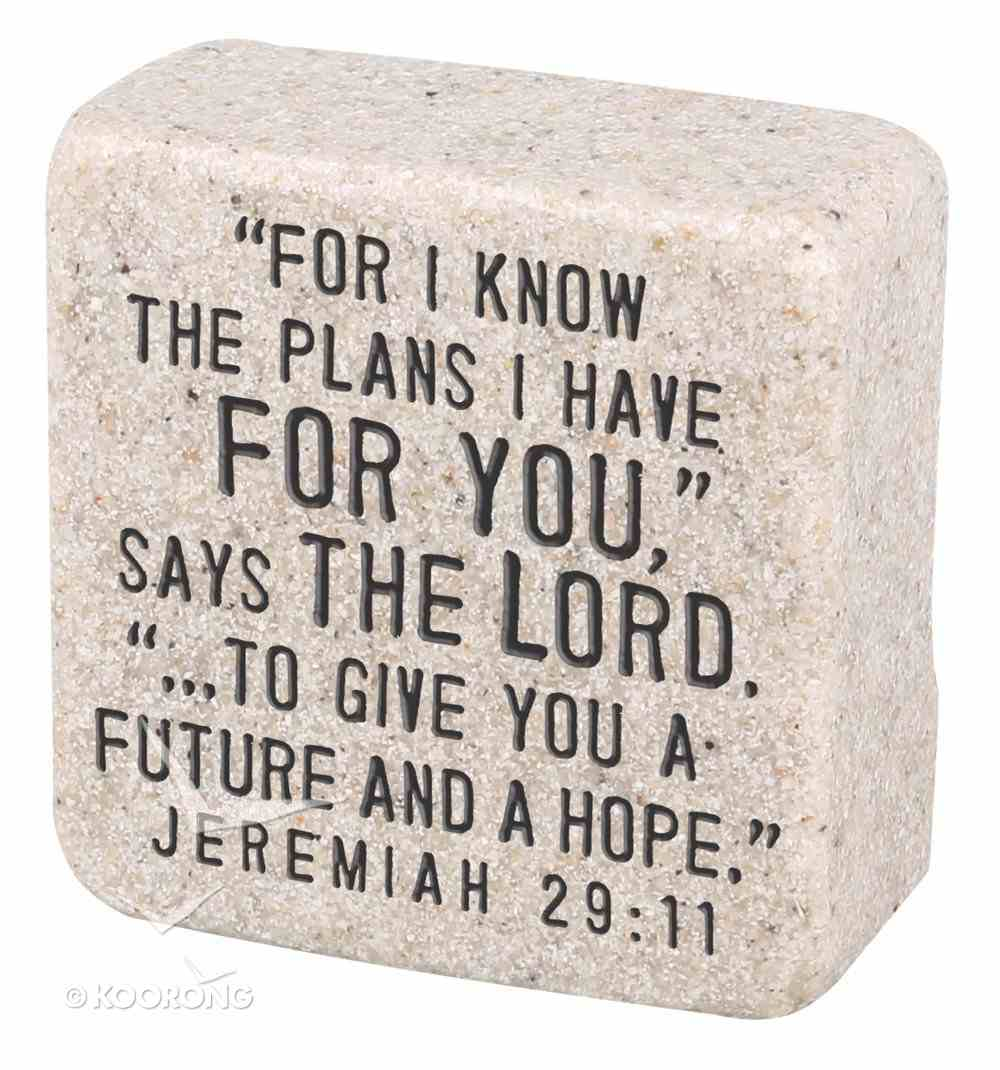 Cast Stone Plaque: His Plans Scripture Stone, Cream (Jeremiah 29:11) Plaque