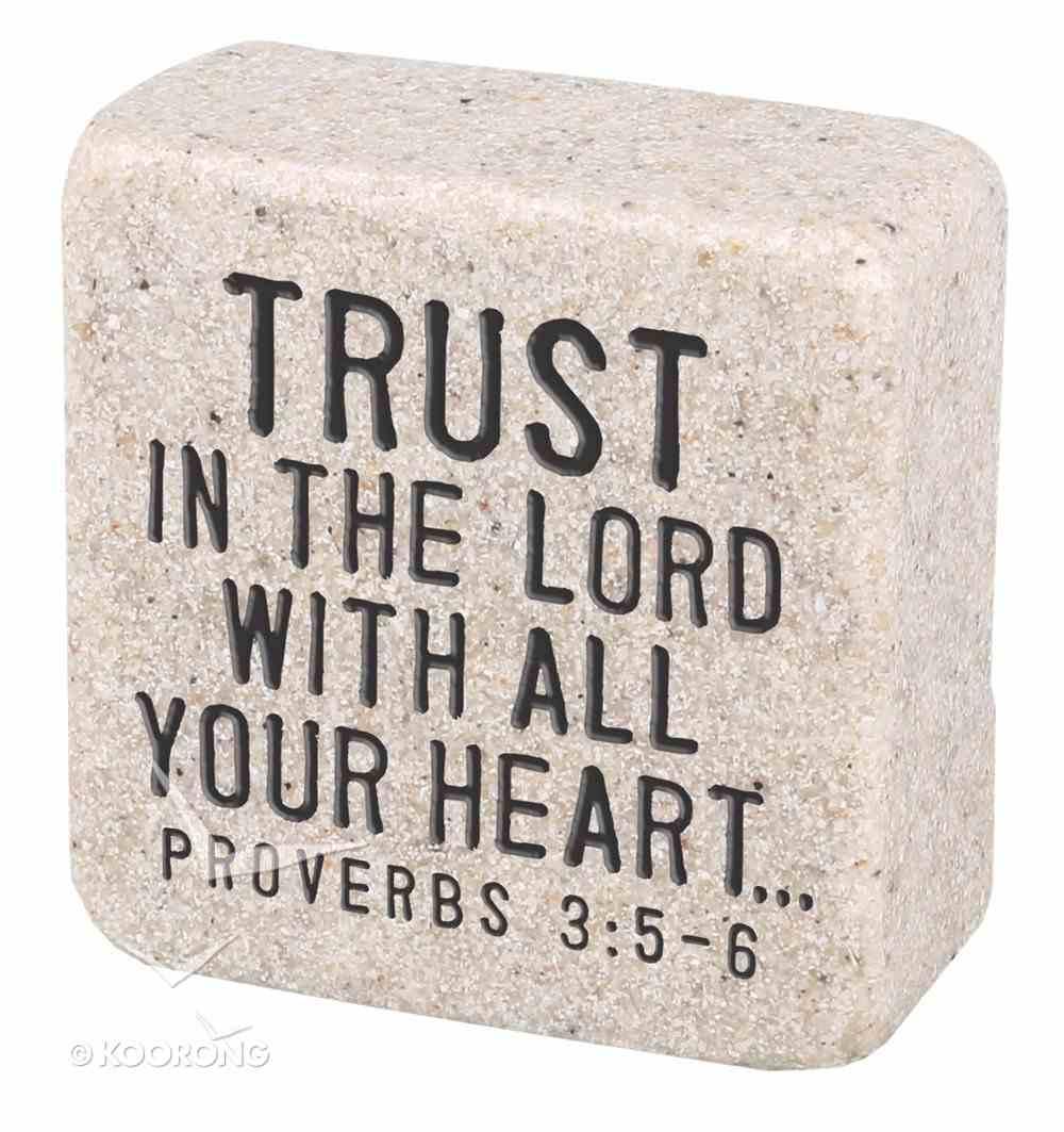 Cast Stone Plaque: Trust Scripture Stone, Cream (Proverbs 3:5-6) Plaque